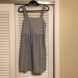 Loft size medium blue and cream striped dress